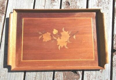 Vintage Wood Serving Tray With Floral Inlay #2
