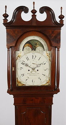 Benjamin & Ellis Clark Phila PA Chippendale Mahogany Tall Case Grandfather Clock