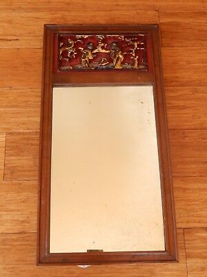 Antique 19th Century CHINESE TEMPLE GOLD GILT CARVED Mirror Frame Walnut