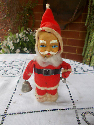 1940s ANTIQUE XMAS WIND UP SANTA RINGS BELL FIGURINE FELT SUIT HARD BODY - WORKS