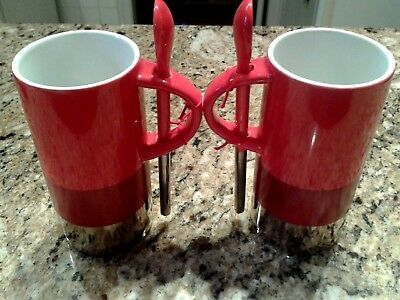 STARBUCKS - Set of 2 Red & Silver - Tall 8 oz COFFEE CUP MUG  w/ SPOON 2014 *NEW
