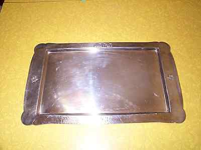 """LARGE HAMMERED SILVER JEWISH SERVING TRAY - 17.5"""" BY 10"""" - 990 GRAMS - 2.3 lbs."""
