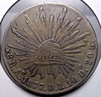 1877 Mexico Alamos Sonora 8 Reales As D.L. Circulated Coin RARE