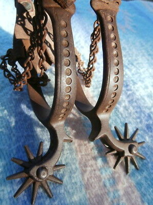 Old Antique Iron Drop Shank North & Judd Spurs  Jerry Dyck Leather Straps
