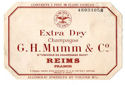 1930s G. H. MUMM & COMPANY, REIMS, FRANCE EXTRA DRY CHAMPAGNE LABEL