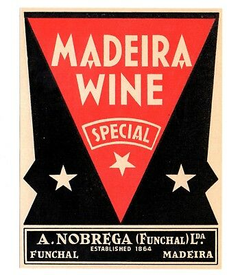 1930s A. NOBREGA, FUNCHAL, PORTUGAL MADEIRA SPECIAL WINE LABEL