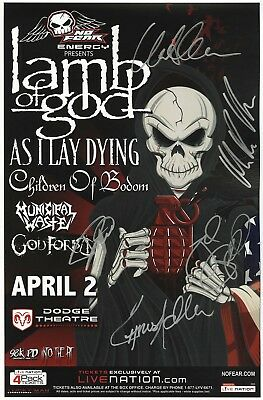 LAMB OF GOD autographed memorabilia concert signed tour poster JSA Authenticity