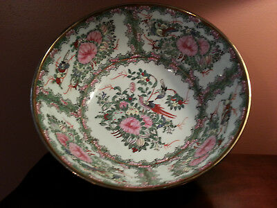 """*Chinese* Floral & Birds Decorated * Large 10"""" Enamel Console Bowl"""