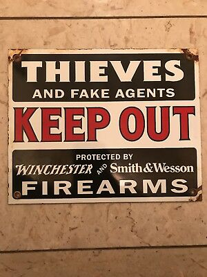 Winchester Smith & Wesson Gun Rifle Pistol Metal Sign Tin New Vintage Style USA