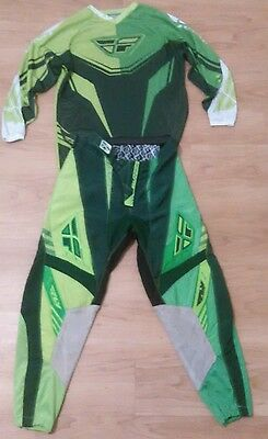 Fly Racing Dirt Bike Jersey (S) & Pants (32) Kinetic Lime Green Motorcycle