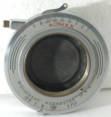 Wollensak Alphax Camera Shutter 1/100 to 1 sec; f/3.5 to f/22  Made in Rochester