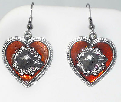 Antique Silvertone and Red Enamel Heart Earrings w Greyhound **FREE SHIPPING**
