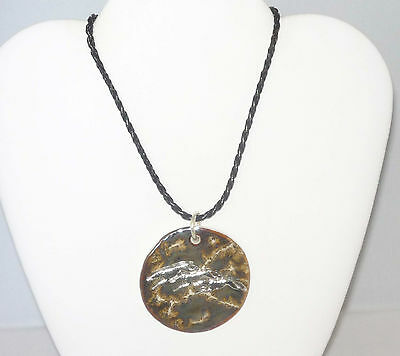 Brown Ceramic Pendant w 3 SP Running Greyhounds, Braided Leather Necklace