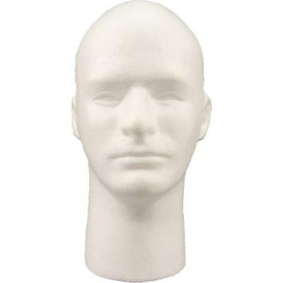 Male Styrofoam Mannequin Head with Face 12 in. White