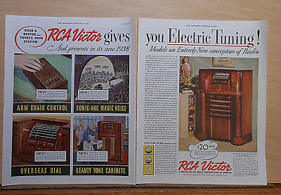 1937 two page magazine ad for RCA radios - 1938 model 813K, new conception