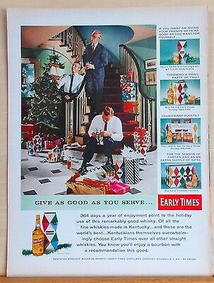 1956 magazine ad for Early Times Whiskey - Xmas ad, Give as Good as you Serve