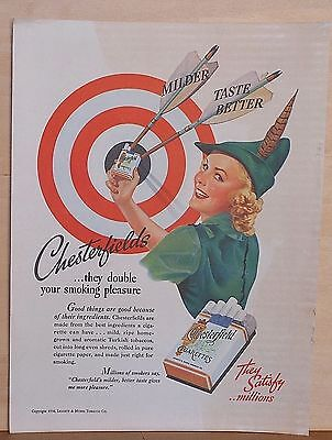 """1938 magazine ad for Chesterfields - """"Robin Hood"""" attired woman at target"""