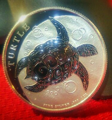 2016 $2 SILVER SEA TURTLE BEAUTIFUL 1 OZ. PROOF .999 SILVER Out of Fresh ROLL