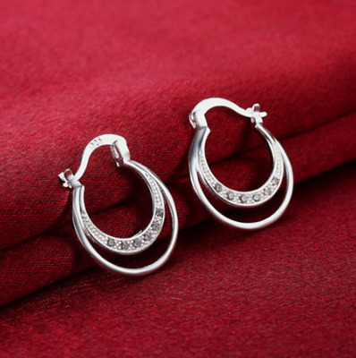 Womens 925 Sterling Silver CZ Crystal Vogue Small Hoop Fashion Earrings #E119