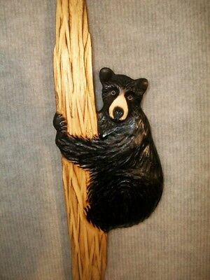 Hand Carved BLACK BEAR CUB up TREE Wall Art Chainsaw Wood Carving Cabin