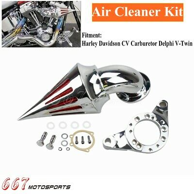 Spike Cone Intake Air Cleaner Filter Kit For Harley CV Carburetor Delphi V-Twin