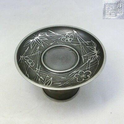 D161: Japanese tin ware stand for cup HAIDAI w/carved seal HON-SUZU by SUZUHAN