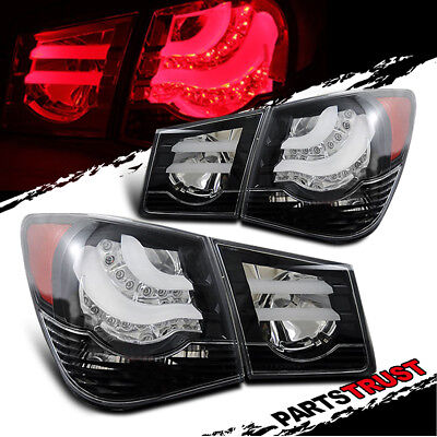 2010 2011 2012 2013 2014 2015 Chevy Cruze Black Rear Brake Tail Lights Lamps Set