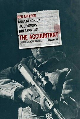 THE ACCOUNTANT great original D/S 27x40 movie poster (s01)