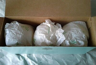 """Partylite Candy Cane Glitter Mini Snowball Candles 2"""" Set of Three White Sparkle"""