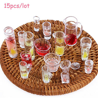 15Pcs 1:12 Scale Dollhouse Miniature Cup / Dish / Bowl Tableware Plate Set Toys