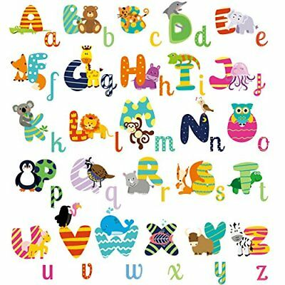 Educational Animal Wall Decals Stickers Animal Alphabet Peel and Stick for kids