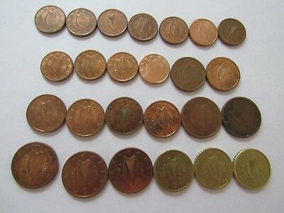 Lot of 25 Different Ireland Euro Coins 2002 to 2014 - Circulated & Uncirculated