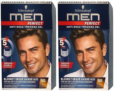 2x Schwarzkopf Men Perfect Anti-Grau Tönungsgel 50 Natur Hellbraun