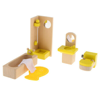 Dollhouse Furniture Miniature Wooden Bathroom Set Kids Pretend Play Toy