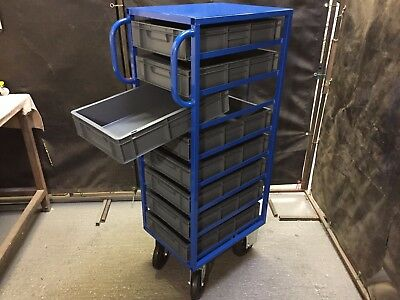 Tote Bin Trolley / Order Picking Trolley and Cart. including tote bins. Made UK