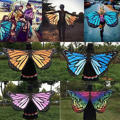 Fabric Soft Butterfly Wings Shawl Fairy Ladies Colorful Nymph Pixie Accessory AU