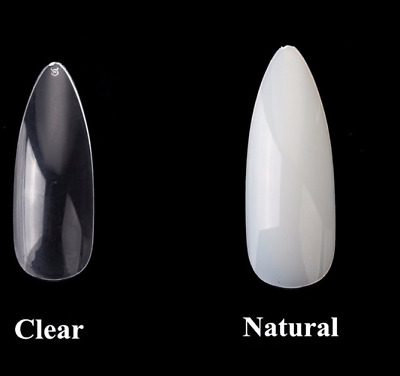 Long Full False Nails clear natural stiletto almond * 100 or 500 * nail