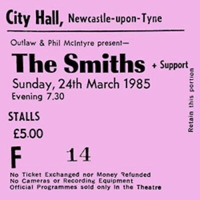 The Smiths/ Morrissey Concert Coaster Ticket March 1985 High quality mdf coaster