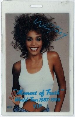 Whitney Houston authentic 1987 Laminated Backstage Pass Moment of Truth Tour VIP