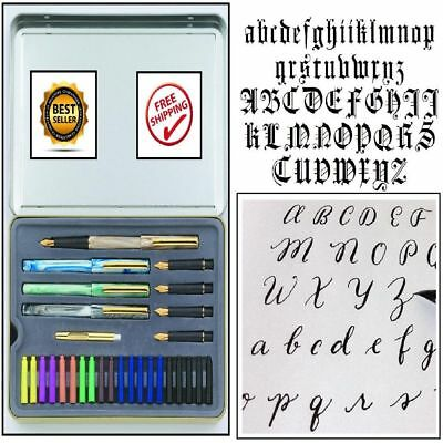 Calligraphy Letters Pen Set Ink Cartridge Practice Paint Draw Kit Best Xmas Gift