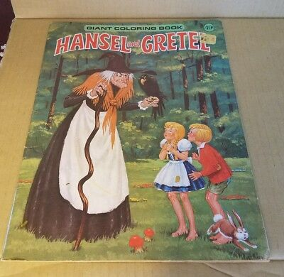 Hansel and Gretel vintage Giant Coloring Book Playmore (partially filled Pages)