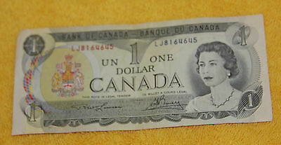 1973  Bank Of Canada One Dollar Old Paper Note