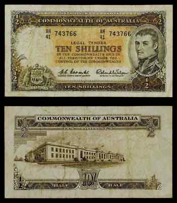 Scarce 1961-95 ND Australia 10 Shillings Banknote Pick Number 33a M Flinders F++