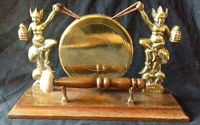 Vintage Cornish Pixies Brass Table Dinner Gong Oak Devon Dartmoor Exmoor England