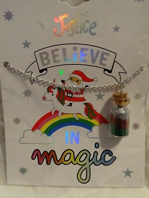 """Justice Girls """"Believe in Magic"""" Christmas Necklace  NEW"""