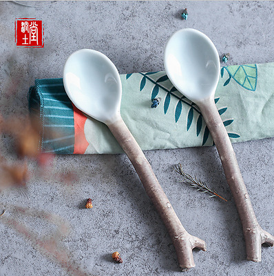 US Traditional Japanese Nanmu Spoon  Branch Spoon Soup Spoons Creative Classical