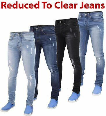 Mens Rock & Religion Branded 5 Pocket Stretch Denim Ripped Skinny Fit Jeans
