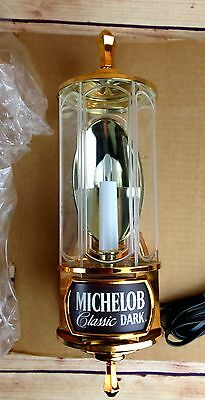 Nos Vintage Pair Of Michelob Classic Dark Lighted Beer Sign Candle Lantern 15""