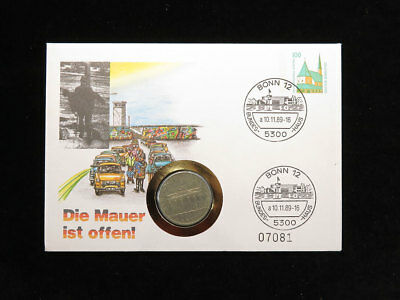 Fall of the Berlin Wall East German Coin & Stamp Cover 1989