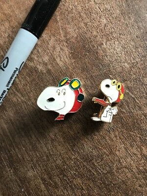 Lot of 2 Rare VINTAGE SNOOPY RED BARON PIN - READS : UNITED SYNDICATE 1965